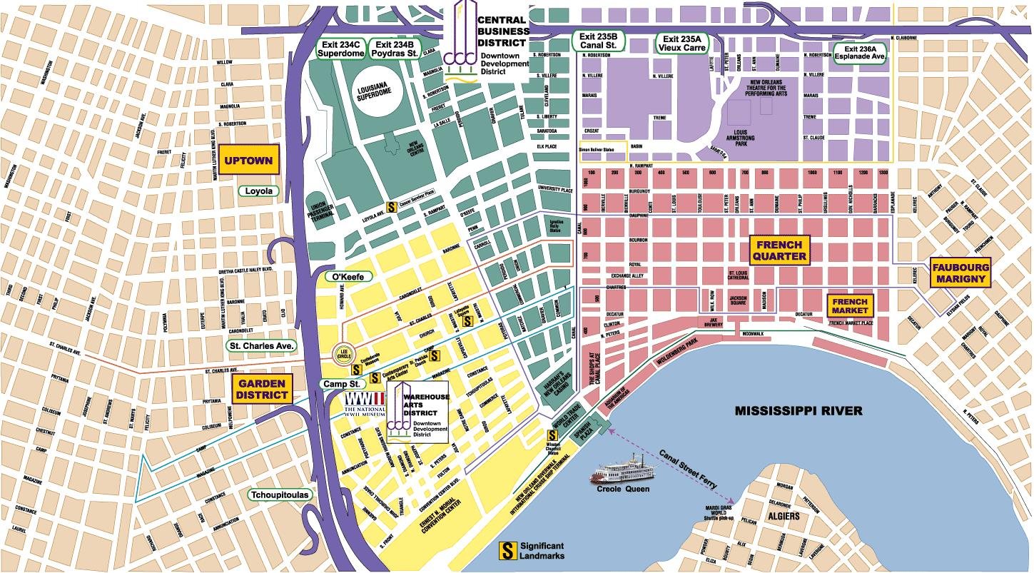 neighborhood map of new orleans New Orleans Area Maps On The Town neighborhood map of new orleans