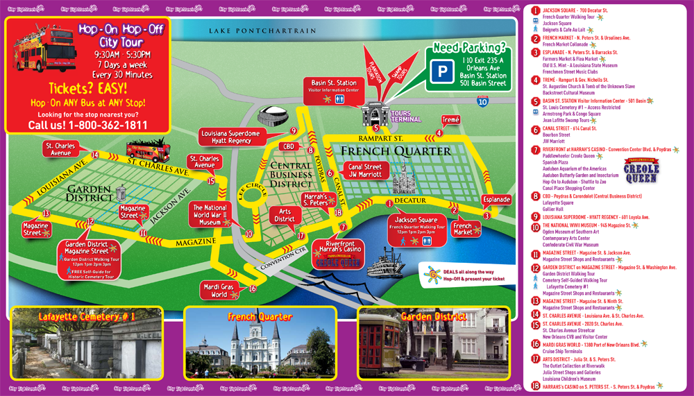 HopOn HopOff – Tourist Attractions Map New Orleans